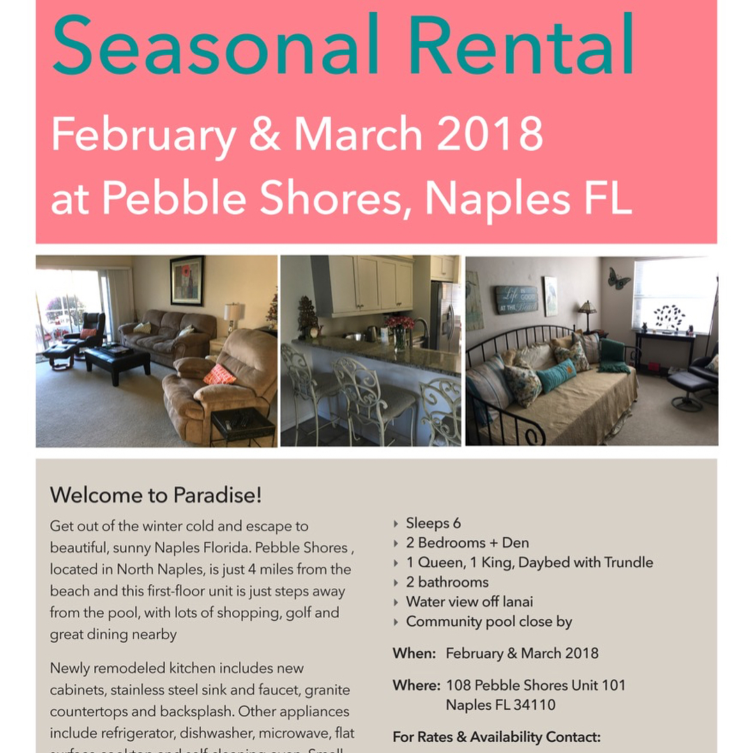 SEASONAL RENTAL February amp March 2018 Pebble Shores Naples FLhellip